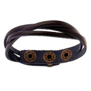 Dark Brown PU Leather Braided Snap Bracelet